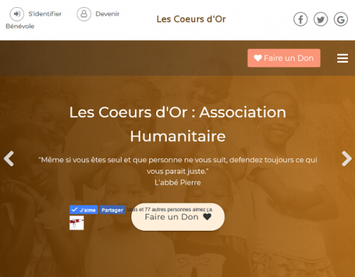 Les Coeurs d'Or : Association Humanitaire - creation site internet